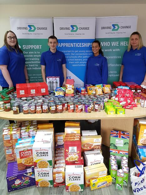Foodbank Donations with volunteers-1
